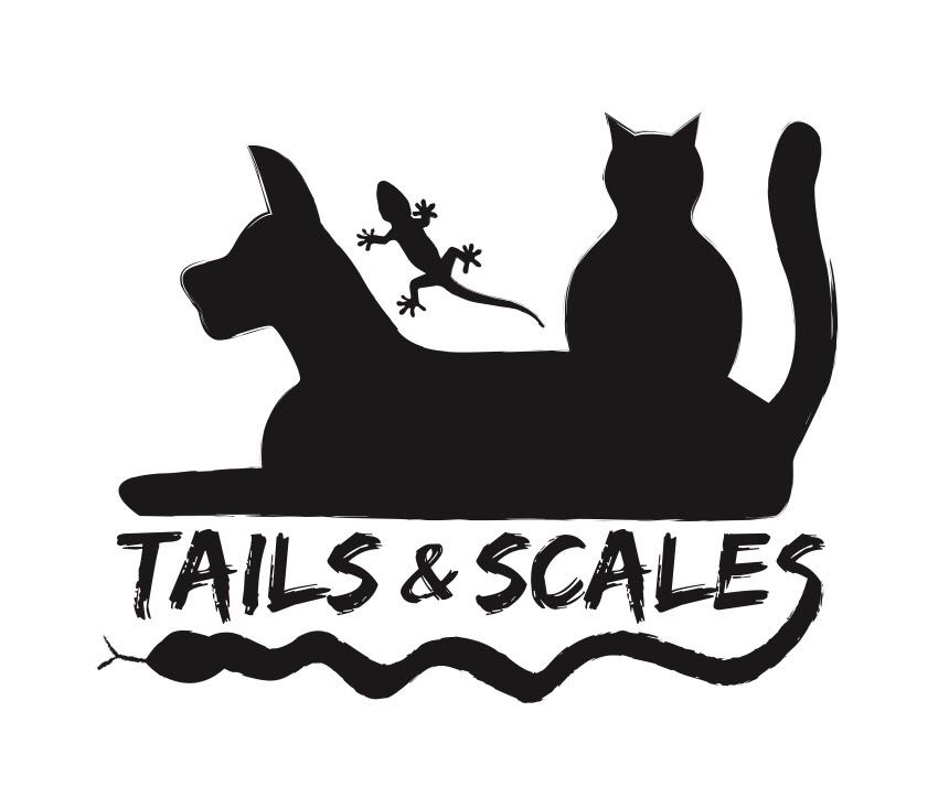 A logo for a pet care service including a silhouette of a dog, cat and lizard